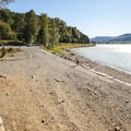 Gravel beach and boat ramp at Rocky Point Campground.- Alder Lake, Rocky Point Campground