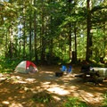 Typical campsite at Big Creek Campground.- Big Creek Campground