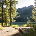 Bertha May Lake and Sawtooth Ridge beyond.- Granite, Bertha May + Pothole Lakes