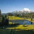 View of Tipsoo Lake and Mount Rainier (14,411') from Chinook Pass.- Tipsoo Lake