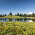 Tipsoo Lake and the view west toward Mount Rainier (14,411').- Tipsoo Lake
