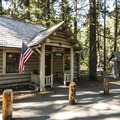 Silver Springs Guard Station and visitor center was rebuilt after a fire in 1930.- Silver Springs Campground