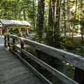Day use picnic area and shelter at Silver Springs Campground.- Silver Springs Campground