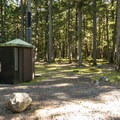 Vault toilet on the small loop off of NF-7160.- Buck Creek Campsites at Ranger Creek Airstrip