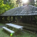 Day use picnic shelter at The Dalles Campground.- The Dalles Campground