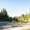 White River adjacent to The Dalles Campground.- The Dalles Campground