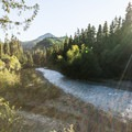 The White River is adjacent to The Dalles Campground.- The Dalles Campground
