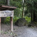 Trailhead for the Cal Magnusson Trail, which climbs the butte's south face.- Mount Peak (Pinnacle Peak)