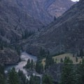 Looking downstream onto Wollard Camp from the hike above Rattlesnake Cave.- Middle Fork of the Salmon River - Overview
