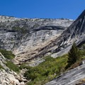 The rock slab descent line bypasses the Pywiack Cascade terrain seen here.- Tenaya Canyon Descent