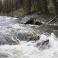 Taking a hit in Velvet Falls at 5.5 feet.- Middle Fork of the Salmon River - Day 1