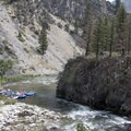 The crux at the bottom of Powerhouse Rapid is to avoid slamming this wall. Photo taken when river levels were approximately 2 feet.- Middle Fork of the Salmon River - Day 1