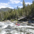 Running Sulphur Slide Rapid at moderate flows (4.5 feet).- Middle Fork of the Salmon River - Day 1