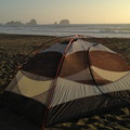 Pristine coastal wilderness camping on Shi Shi Beach.- Point of the Arches via Shi Shi Beach
