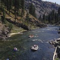 Boats navigate the low water challenges of Pungo Canyon.- Middle Fork of the Salmon River - Day 2