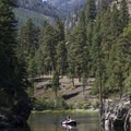Rowing through the calm Marble Creek pool.- Middle Fork of the Salmon River - Day 2