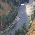 Looking down onto Shelf Rapid and Shelf Camp.- Middle Fork of the Salmon River - Day 3