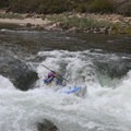 A kayak dropping over Tappan Falls.- Middle Fork of the Salmon River - Day 4