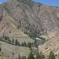 Looking down Camas Creek to the 180-degree bend in the MIddle Fork.- Middle Fork of the Salmon River - Day 4