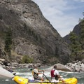 Making the pull to the left to avoid the big airplane rock in Redside Rapid.- Middle Fork of the Salmon River - Day 5
