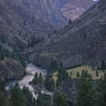 Sunrise on the canyon wall over Wollard Camp.- Middle Fork of the Salmon River - Day 5