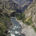 Looking down onto Mist Falls Rapid and Tombstone Rock from a ledge above the river.- Middle Fork of the Salmon River - Day 5