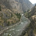 The view back upstream from the top of Tombstone Rock toward Mist Falls Rapid.- Middle Fork of the Salmon River - Day 5
