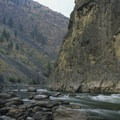 A morning view of Lower Cliffside Rapid from the upstream end of Tumble Camp.- Middle Fork of the Salmon River - Day 5