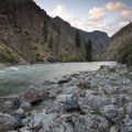 Sunset in the lower canyon on Ouzel Rapid.- Middle Fork of the Salmon River - Day 5