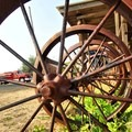 Old stagecoach wheels.- Shaniko