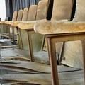 Audiotorium chairs in Shaniko.- Shaniko