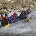 Taking a hit in the tailwaves of Rubber Rapid.- Middle Fork of the Salmon River - Day 6