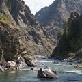The view looking downriver onto Jump Off Rapid from the top of Clamshell Rock.- Middle Fork of the Salmon River - Day 6