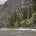 Clamshell Rock is just sticking out of the water at flows around 7 feet.- Middle Fork of the Salmon River - Day 6