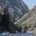 A commercial sweep boat drifts toward the confluence with the Main Salmon.- Middle Fork of the Salmon River - Day 6