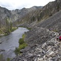 More long talus crossings in the Powerhouse Rapid area.- Middle Fork of the Salmon River Trail – Day 1