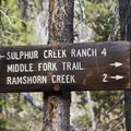 Trail signs are posted at the first junctions in the Sulphur Creek drainage.- Middle Fork of the Salmon River Trail – Day 1