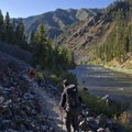 There are rocky sections of trail where it crosses long talus slopes.- Middle Fork of the Salmon River Trail – Day 3