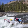 One of the support rafts runs Marble Creek Rapid (RM 32.5).- Middle Fork of the Salmon River Trail – Day 3