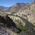 A second climb over the top of the Red Bluff Cliffs (RM 44.9) can be hot in the mid-afternoon sun, but it offers a great view of the river below.- Middle Fork of the Salmon River Trail – Day 4