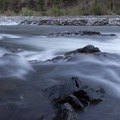 At Jackass Rapid (RM 38) the river pours over sharp bedrock ledges.- Middle Fork of the Salmon River Trail – Day 4