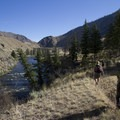 The trail crosses several miles of flat river terraces in the vicinity of the Cougar Creek Ranch (RM 41.3).- Middle Fork of the Salmon River Trail – Day 4