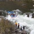 A boat negotiates the drop at Tappan Falls.- Middle Fork of the Salmon River Trail – Day 5