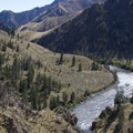 Looking back upstream from the top of Rattlesnake Cave.- Middle Fork of the Salmon River Trail – Day 6