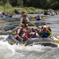 An oar assist paddle boat enters a fun Rogue Rapid.- Rogue River: Grave Creek to Foster Bar