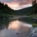 Sunset over Missouri Bar Camp.- Rogue River: Grave Creek to Foster Bar