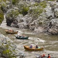 The driftboat line through Coffee Pot rapid in Mule Creek Canyon.- Rogue River: Grave Creek to Foster Bar