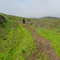Climbing the muddy trail.- Lynch Canyon Open Space
