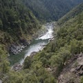 A steep overlook from the trail gives a view of the canyon at Windy Creek Chute Rapid.- Rogue River Trail - Day 1