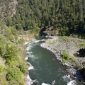 The boulder garden of Blossom Bar. The trail stays well above this rapid, but it is an easy scramble over bedrock to the banks of the river.- Rogue River Trail – Day 3